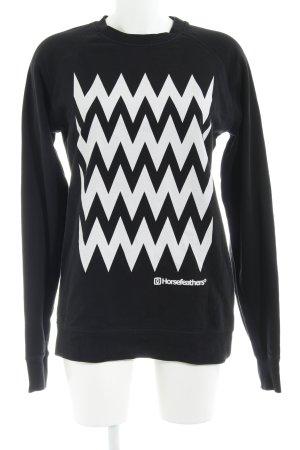 Horsefeathers Sweatshirt schwarz-weiß Zackenmuster sportlicher Stil