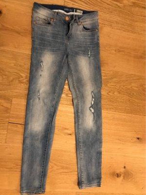 & DENIM Lage taille broek blauw