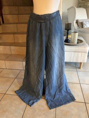 Pantalon palazzo bleu azur-bleu acier