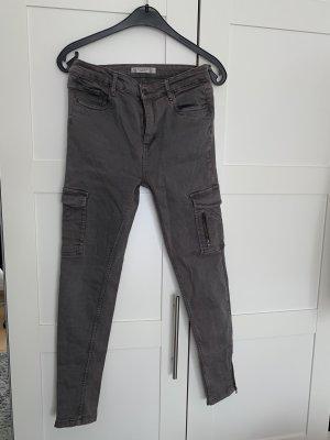 Pull & Bear Pantalón de cintura alta gris antracita