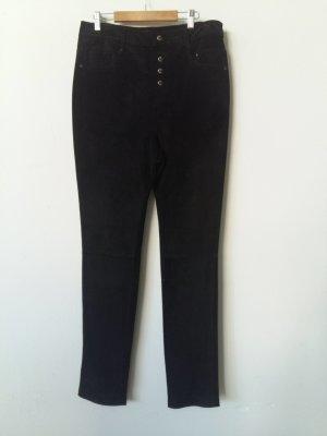 AB Design Pantalón de cuero negro Cuero