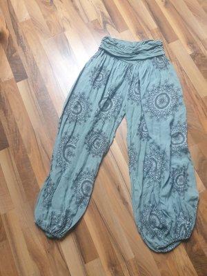 keine Marke Harem Pants pale blue-sage green