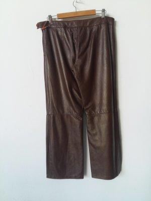 F&Co Pantalón de cuero marrón Cuero