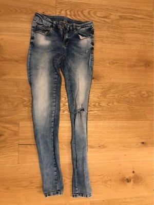 FB Sister Pantalon taille basse bleu-brun rouge