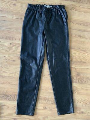 Ichi Faux Leather Trousers black polyurethane