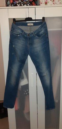Zara Basic Lage taille broek donkerblauw