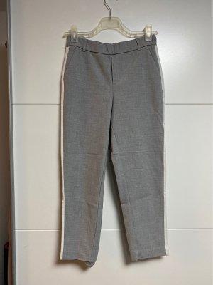 Zara Pantalón de vestir color plata-blanco