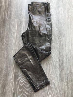Steven Pantalón de cuero negro-color plata Cuero
