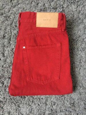 H&M Hoge taille jeans donkerrood-karmijn Katoen