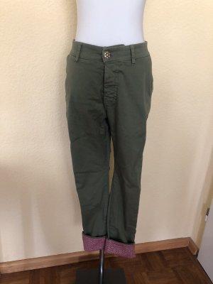 Please Pantalone chino grigio-verde-carminio