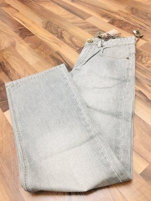 Jeans a zampa d'elefante grigio-grigio chiaro
