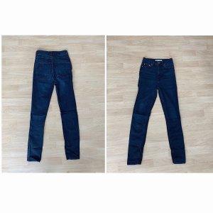 Zara Pantalon taille haute bleu foncé