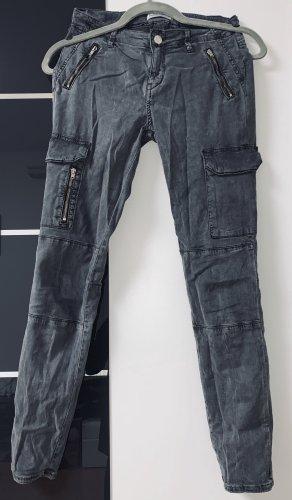 Zara Pantalon taille basse gris foncé