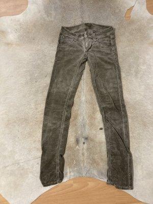 0039 Italy Pantalon taille basse gris brun coton