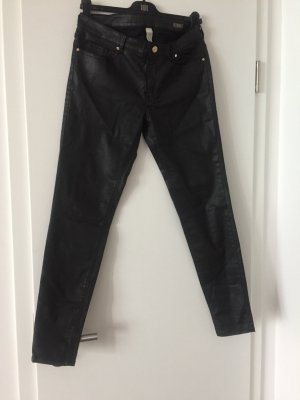 Mango Leather Trousers black
