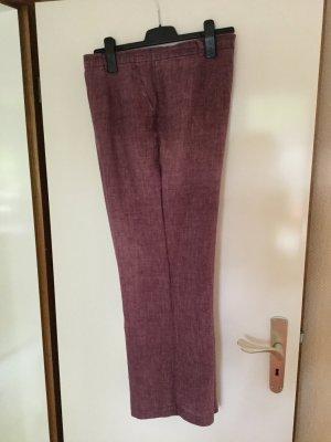 Hirsch Pantalon en lin brun pourpre lin