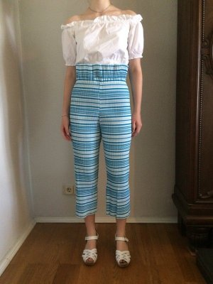 Handmade Pleated Trousers white-turquoise cotton