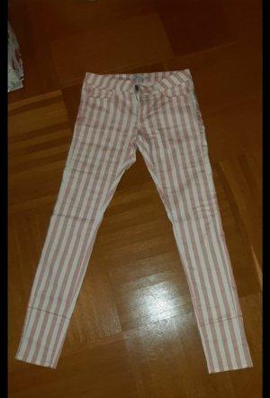 Amisu Pantalon en jersey blanc-rose clair