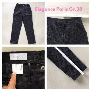 Elégance Pantalón de pinza alto negro Algodón