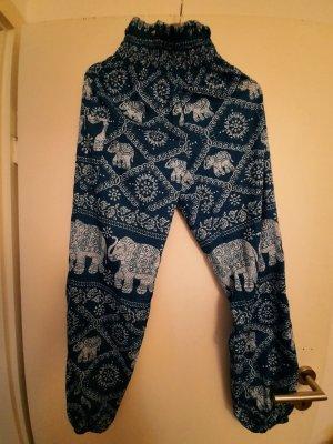 Pantalón estilo Harem azul neón