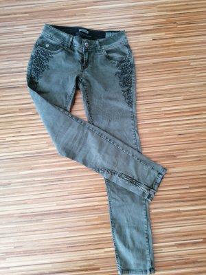 Gracia Pantalón de tubo negro-gris verdoso
