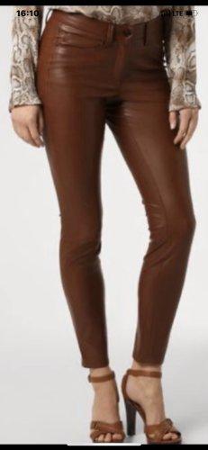 Cambio Pantalon en cuir brun rouge