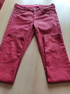 adc by Esprit Low-Rise Trousers brick red cotton