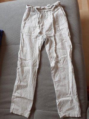 Pantalone di lino bianco-nero