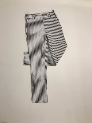 H&M Hoge taille broek wit-donkerblauw