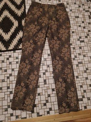 Pantalone peg-top marrone-grigio