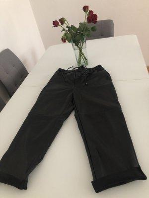 Mango Skórzane spodnie czarny Tkanina z mieszanych włókien