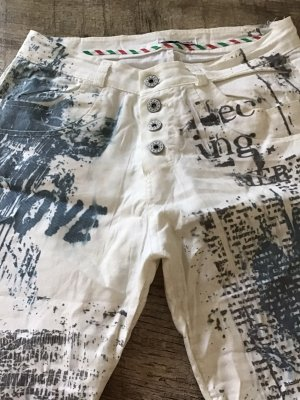 Pantalon cinq poches blanc-gris ardoise
