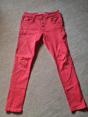 Spodnie typu boyfriend czerwony