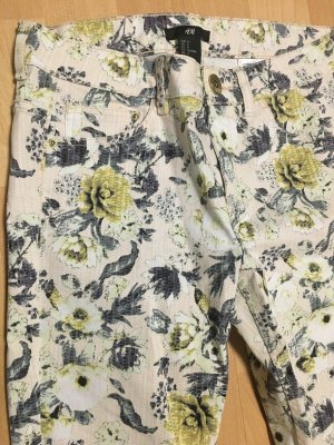 Hose Größe 36 floral Print mit Blumen bunt gelb blau Creme skinny Jeans