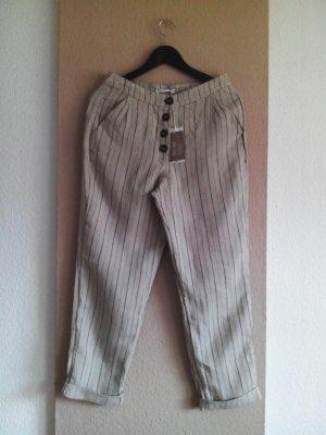 Hose in beige-schwarz aus 100% Leinen, Größe 36, neu