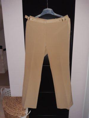 Hose in edlem Caramel mit Seiten- und Bund-Lederstreifen