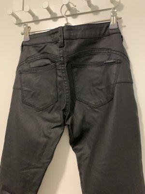 Mango Pantalon en cuir noir viscose