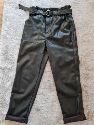 Geisha Pantalon en cuir noir
