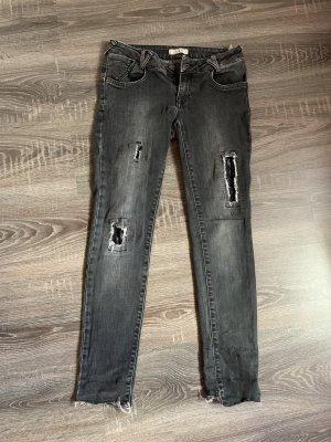 Hose Jeans grau Pailletten Glitzer skinny Röhre Löcher ripped used Look