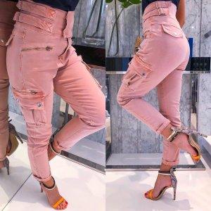 Jeans a vita alta rosa pallido