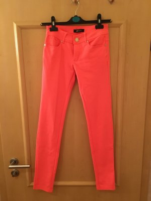 Hose Jeggings Treggings Skinny Stretch Neon Koralle Lachs Apricot Peach Blogger