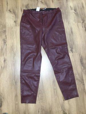 Boss Orange Faux Leather Trousers bordeaux