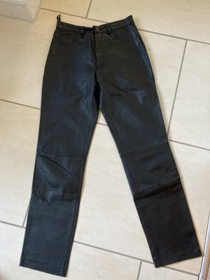 keine Marke Pantalon en cuir noir cuir