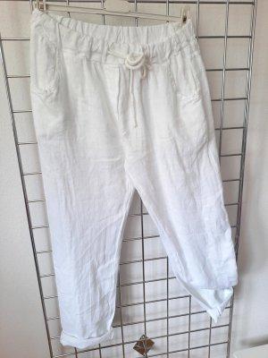 Made in Italy Pantalon en lin blanc