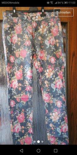Only Pantalone a sigaretta grigio chiaro-rosa