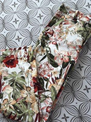 Hose mit Buntfalte & Blumenmuster