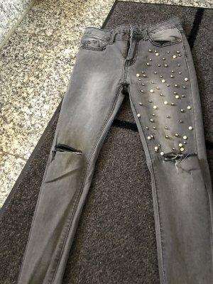 Pantalon cigarette gris-gris anthracite