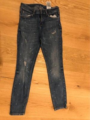 C&A Pantalon taille basse bleu-blanc