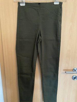H&M Pantalón de cintura alta verde oscuro