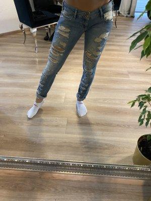Pantalone boyfriend blu-blu acciaio